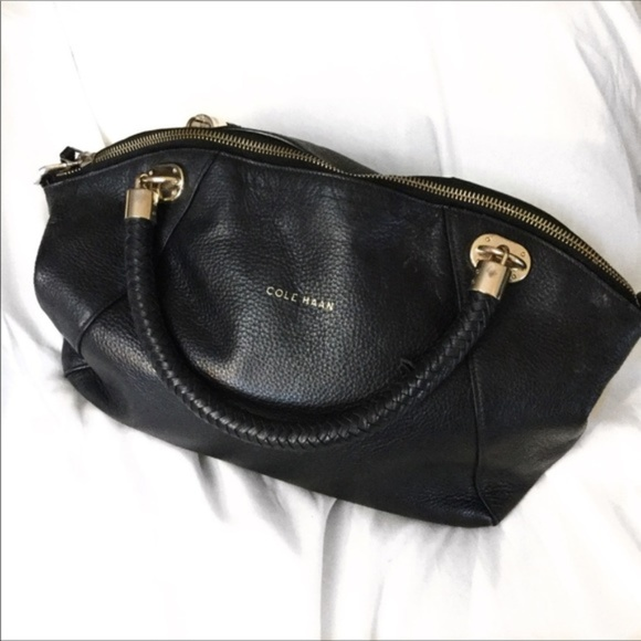 Cole Haan Handbags - Cole Haan Leather Bag with Braided Handles